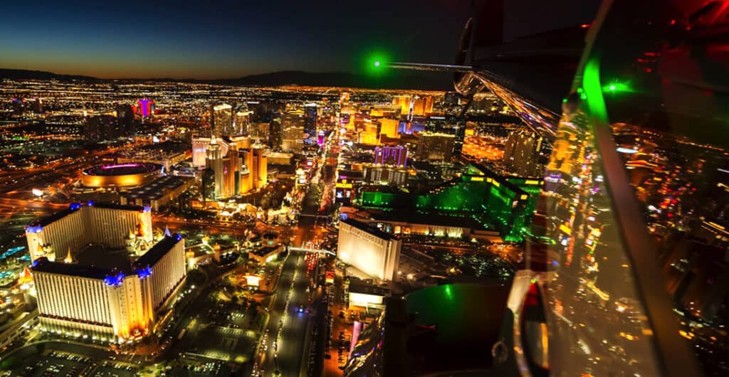 night view from above of las vegas