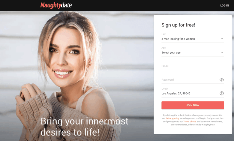 home page of naughtydate