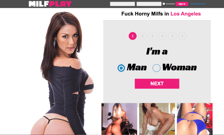 home page of milfplay