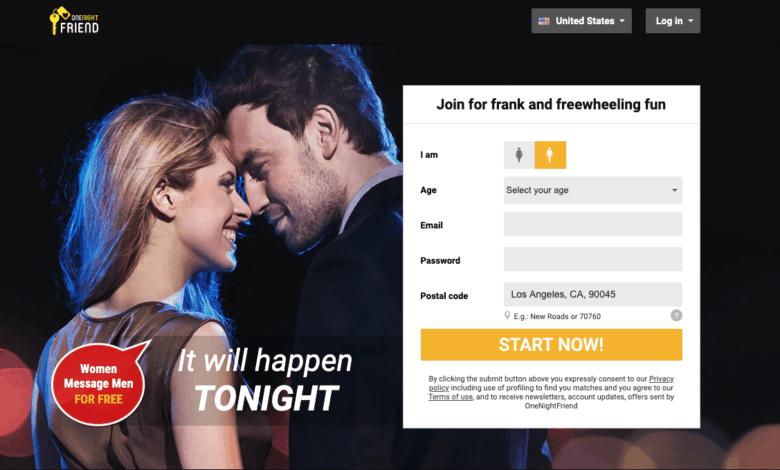 home page of onenightfriend