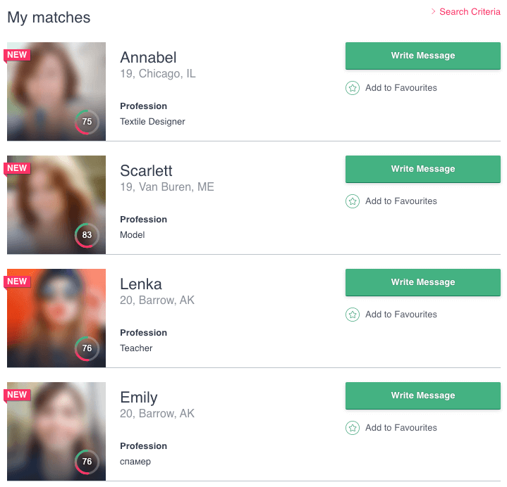 be2 profile matches