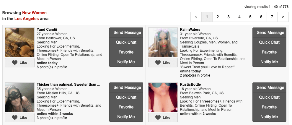 profile pages of new women on fling.com