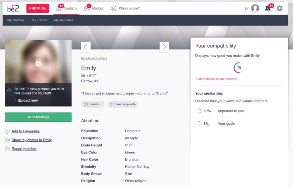 be2 user profile