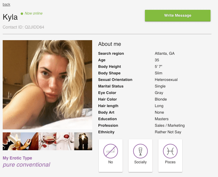 profile page of a user on c-date