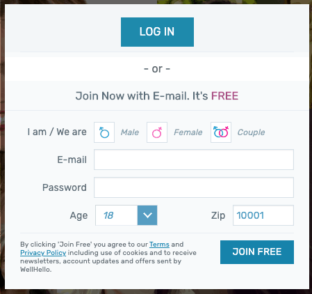 login page for wellhello