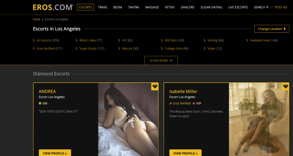 home page of eros.com featuring cheap escort services